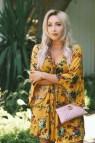 Mustard Yellow Dress & Pink Gucci Bag