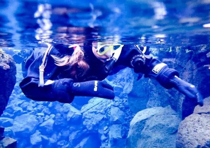 snorkeling in silfra in winter
