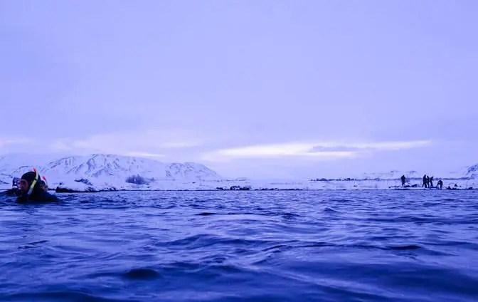 snorkeling in iceland in winter