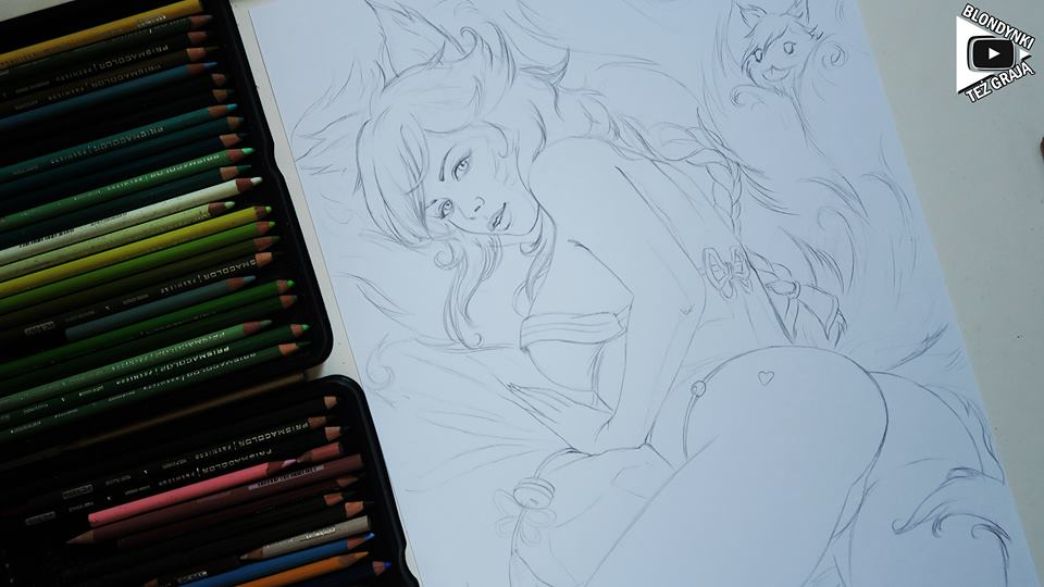 Ahri drawing by Blondynki Też Grają - League of Legends art