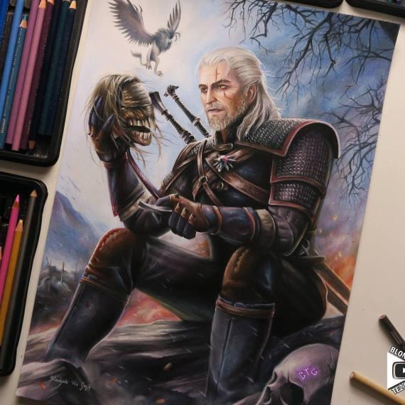 Geralt Witcher 3 drawing by Blondynki Też Grają