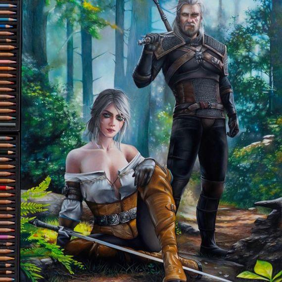 Ciri i Geralt rysunek