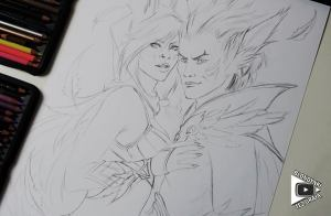 Xayah and Rakan drawing by Blondynki Też Grają - League of Legends art