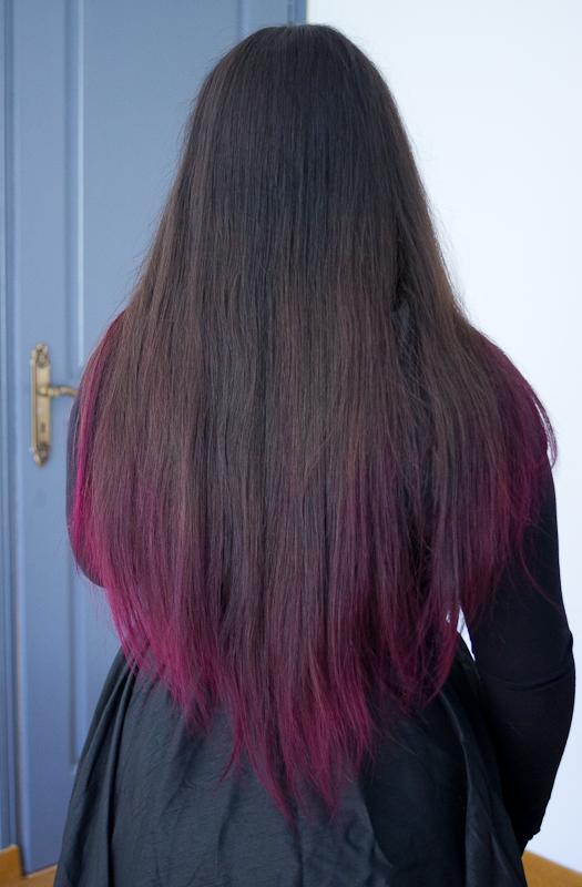 Coloration violine sur cheveux fonce