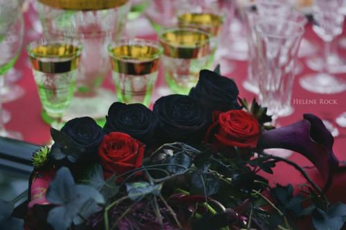 Mon bouquet et les verres de ma belle-mère.