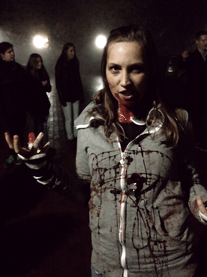 A zombie extra having a little fun while waiting for a shoot on the set of 'Escaping the Dead'