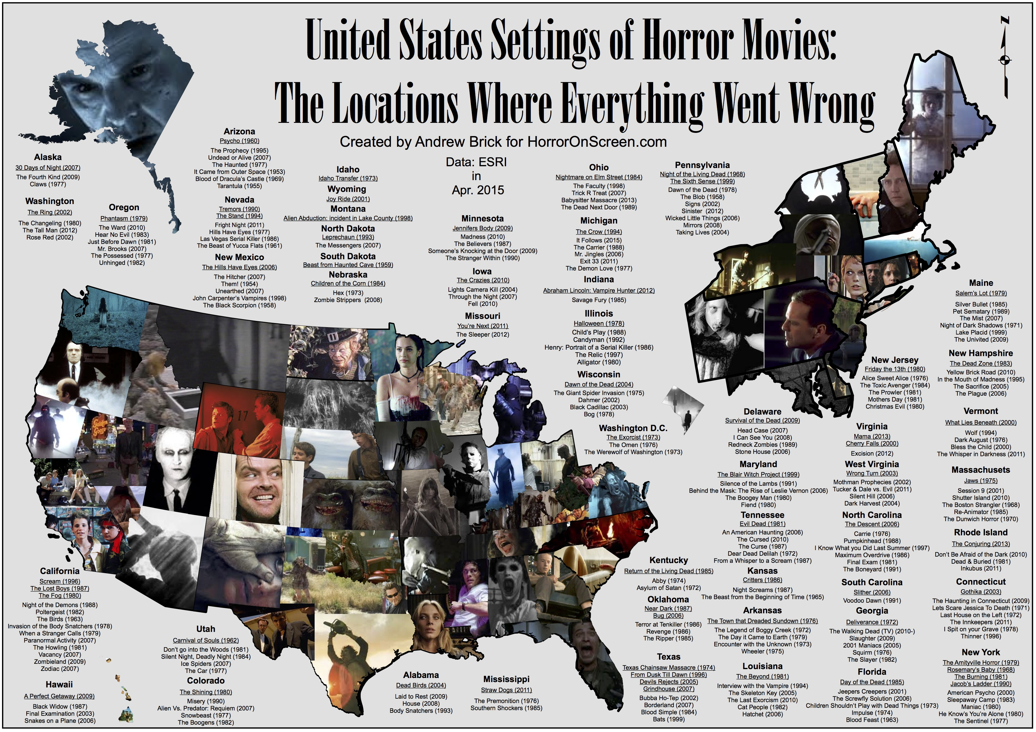 Here\'s A US Map Showing Where Horror Movies Took Place