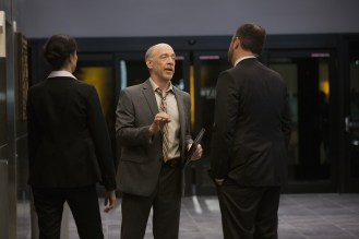 Left to right: Sandrine Holt plays Detective Cheung, JK Simmons plays Detective O'Brien and Michael Gladis plays Lieutenant Matias in Terminator Genisys from Paramount Pictures and Skydance Productions.