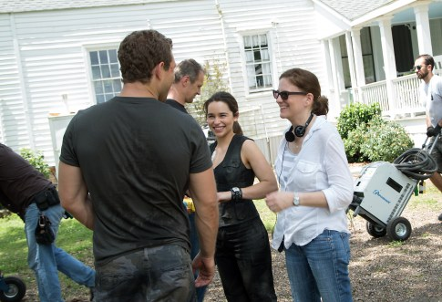 Left to right: Jai Courtney, Emilia Clarke, and Producer Dana Goldberg on the set of Terminator Genisys from Paramount Pictures and Skydance Productions.