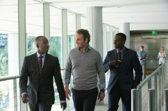 Left to right: Courtney B. Vance plays Miles Dyson, Jason Clarke plays John Connor, and Dayo Okeniyi plays Danny Dyson in Terminator Genisys from Paramount Pictures and Skydance Productions.