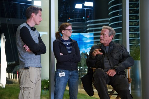 Left to right: Producer David Ellison, Producer Dana Goldberg, and Arnold Schwarzenegger on set of TERMINATOR GENISYS from Paramount Pictures and Skydance Productions.