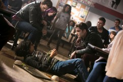 """Ed Westwick, right, and Josh Fadem, on the ground, in Columbia Pictures' """"Freaks of Nature."""""""