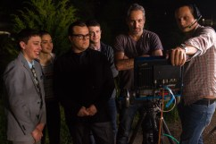 """L-r, Ryan Lee, Odeya Rush, Jack Black, Dylan Minnette, Director Rob Letterman with camera operator Jacques Jouffret on the set of Columbia Pictures' """"Goosebumps."""""""