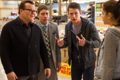 """L-r, Jack Black, Ryan Lee, Dylan Minnette and Odeya Rush star in Columbia Pictures' """"Goosebumps."""""""