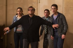 """L-r, Odeya Rush, Jack Black, Ryan Lee and Dylan Minnette star in Columbia Pictures' """"Goosebumps."""""""
