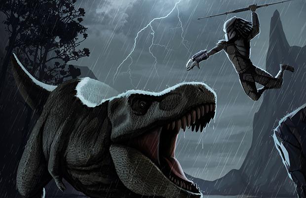 That Time The Predator Fought A Tyrannosaurus Rex Bloody