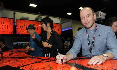 Screenwriter Simon Barrett seen at the Lionsgate Booth to sign autographs for 'Blair Witch' and meet fans at San Diego Comic-Con at 2016 Comic-Con on Saturday, July 23, 2016, in San Diego, CA. (Photo by Richard Shotwell/Invision for Lionsgate/AP Images)
