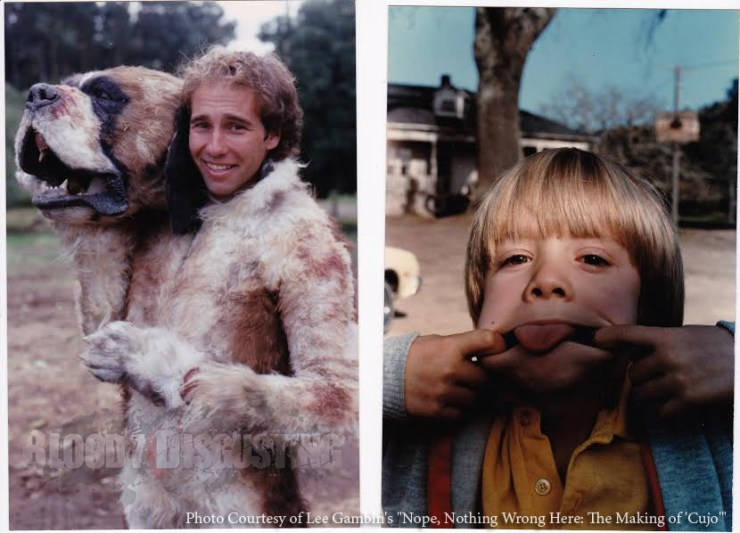 """Stunt man Gary Morgan in the dog suit and Danny Pintauro goofing off on set. NOPE, NOTHING WRONG HERE: THE MAKING OF """"CUJO"""" by Lee Gambin"""