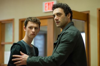 From r to l: Kevin Copeland (Morgan Spector) becomes a surrogate father, protecting his daughter's best friend, Adrian Garf (Russell Posner), when they are suddenly separated from their families when an eerie mist rolls into their town. Spike TV's THE MIST, based on a story by Stephen King, premieres on Thursday, June 22 at 10 pm, ET/PT.