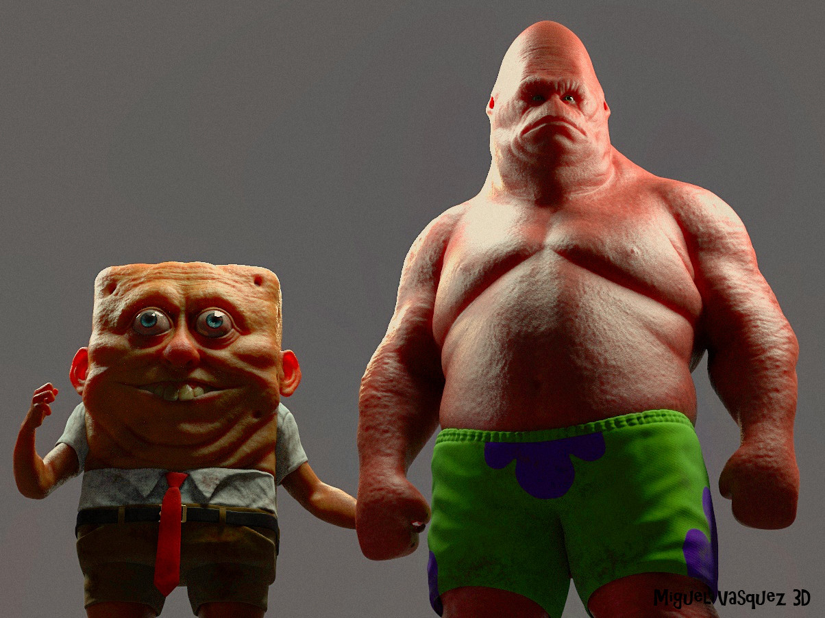 "3d art of spongebob and patrick ""in real life"" is deeply unsettling"