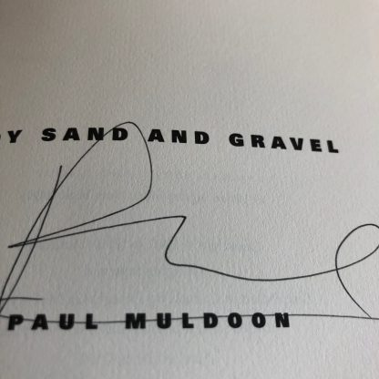 Paul Muldoon's signature on the title page. He has crossed out his printed name below.