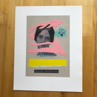 A high-quality inkjet print of an original analog collage, lying on a maple tabletop. The collage depicts a woman from the neck up, woven through a vivid pink lattice above a yellow torn stripe. Over her shoulder to the right is a small aqua cloud with a smiling cartoon face.