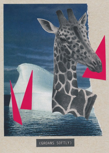 A collage of a black-and-white giraffe swimming in water with some large hot pink triangles and an iceberg. Below the water is a closed-caption style title: (GROANS SOFTLY).