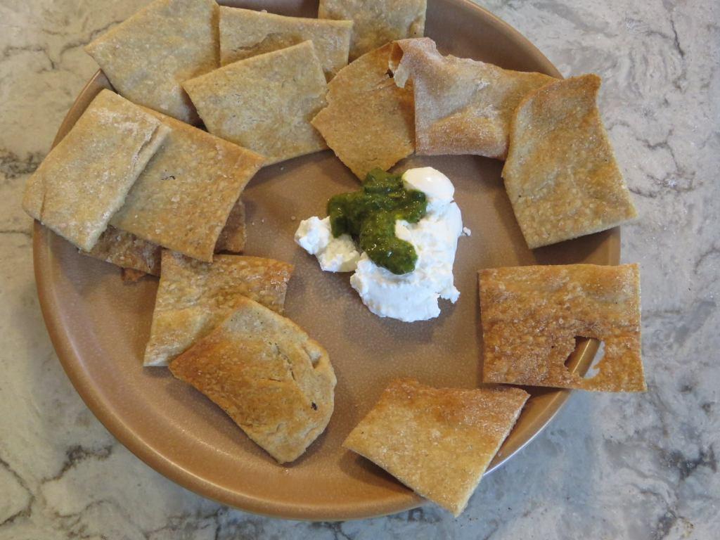 Homemade pesto and cream cheese with sourdough crackers - soooo tasty!!!