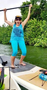 Pamela on paddleboard