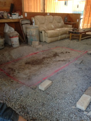 marking out the excivation area