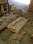 Foundation for the firebox.