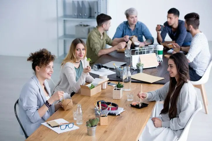 young workers in break room have ideas about managing millennials in the workplace
