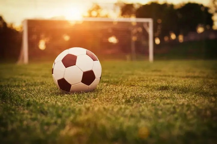soccer ball in front of goal represents scoring with sales training ideas