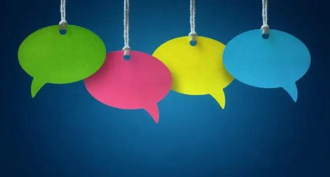 colorful speech bubbles representing social customer care