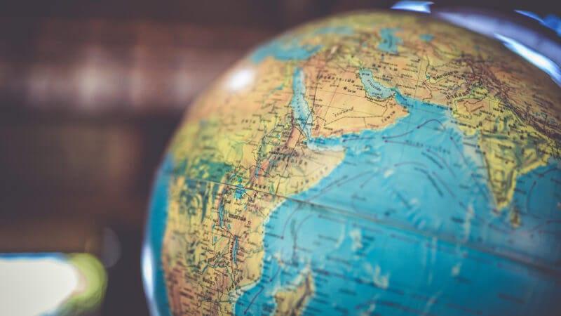 globe representing global search