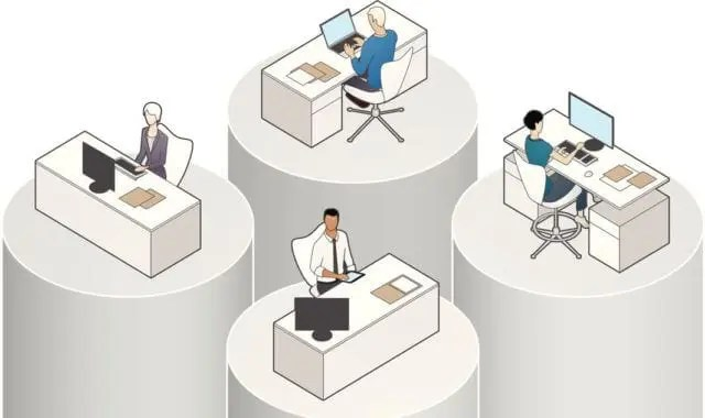 silos in the workplace represented by office workers on separate pillars