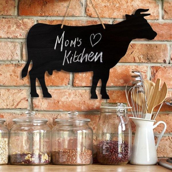 rustic cow chalkboard - mom's kitchen
