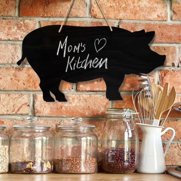 rustic pig chalkboard - with mom's kitchen quote