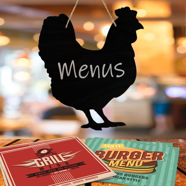 rustic chicken chalkboard - hanging in a restaurant