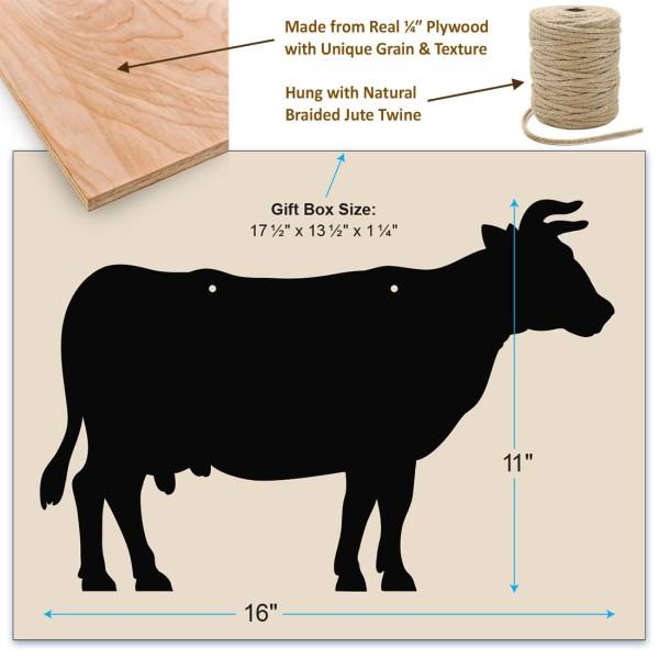 rustic cow chalkboard - dimensions