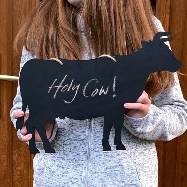 rustic cow chalkboard - held in girl's hands