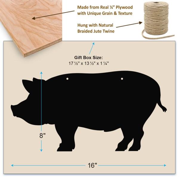 rustic pig chalkboard - dimensions