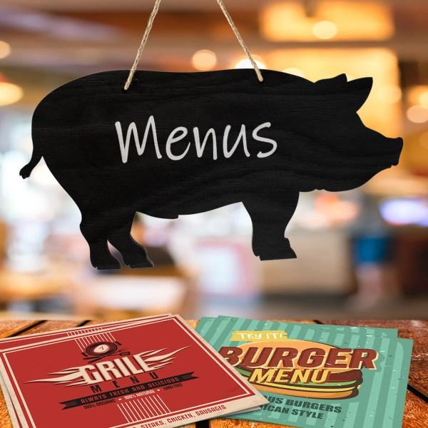 rustic pig chalkboard - in restaurant