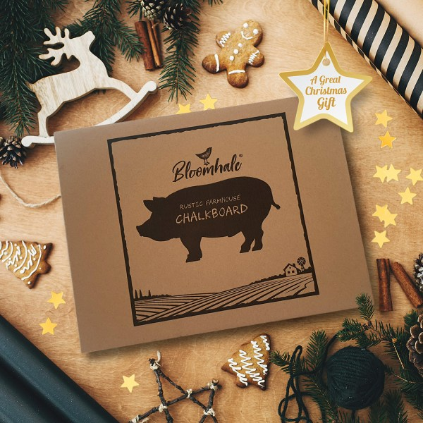 rustic pig chalkboard - showing gift box