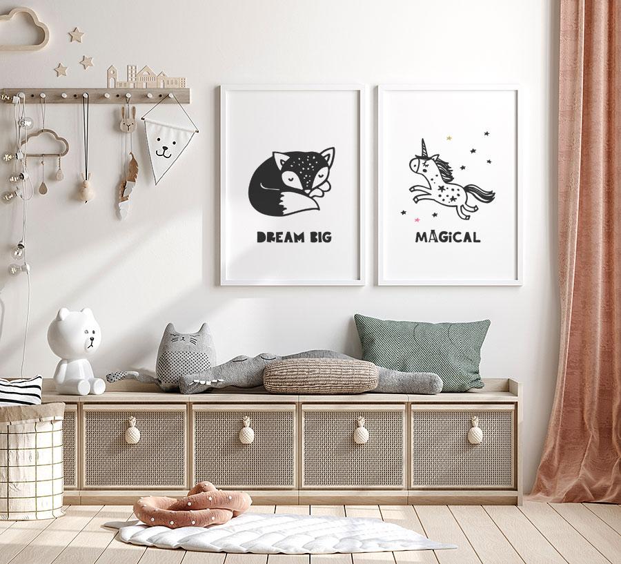 modern rustic childs playroom storage idea