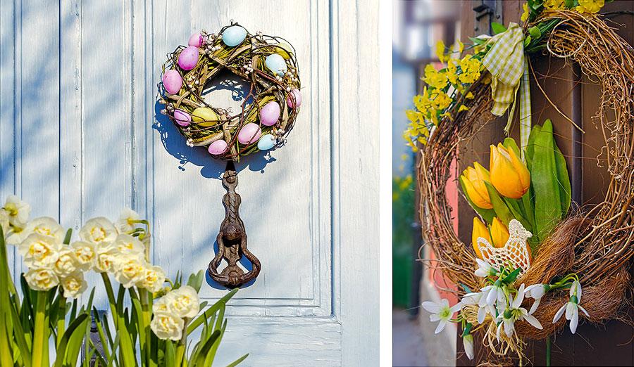 Easter wreaths on door