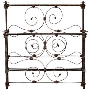 Antique Full Size Scroll Iron Bed with Original Rails