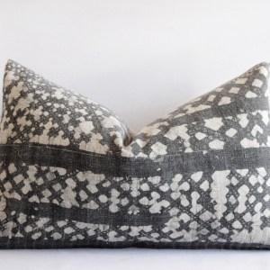 Pair of Vintage Batik Accent Pillow Charcoal and Natural Linen