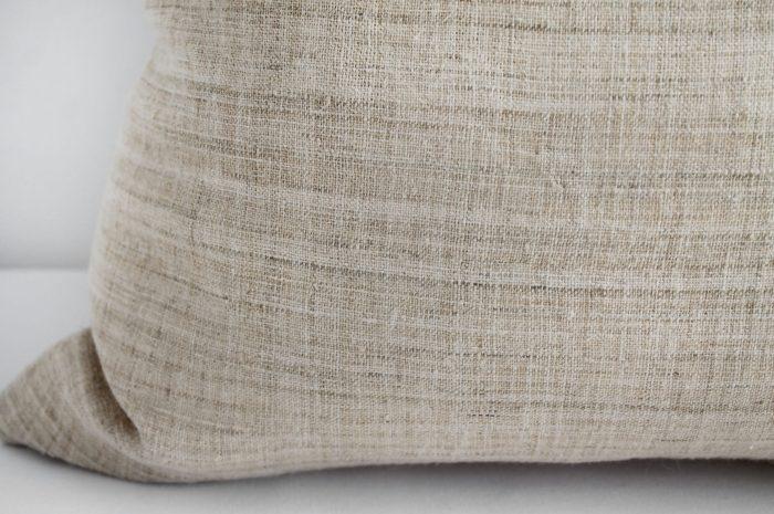 Vintage Homespun Linen Textile Pillow