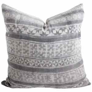 Vintage Batik Gray Accent Pillow